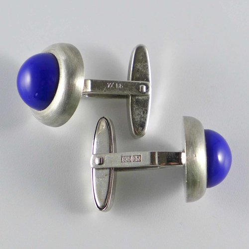 Cufflinks with lapis blue glass stones