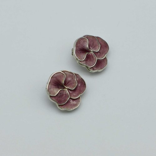 Silver earclips with enamel pansies