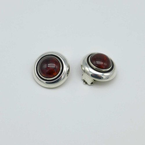 N.E. From - Silver Earclips with Amber