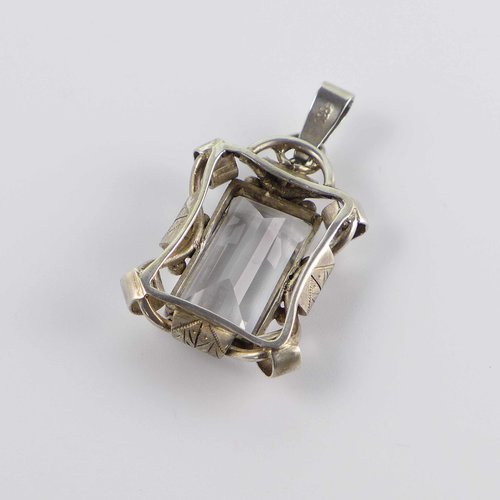 Art Deco pendant with large rock crystal