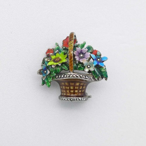 Brooch enamelled flower basket with marcasites
