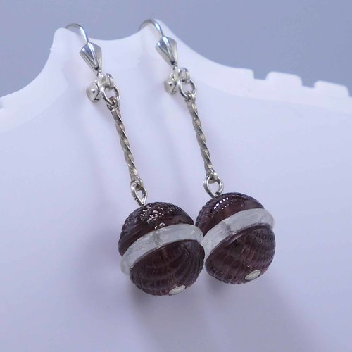 Earrings with amethyst coloured crystal glass beads