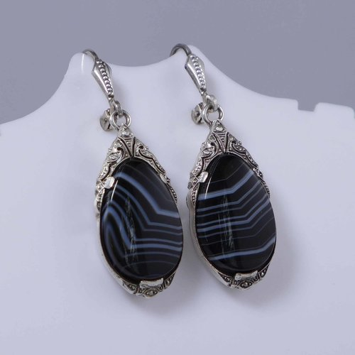 Onyx silver earrings from the 1920s